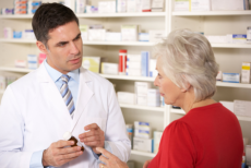 Old woman Talking to the pharmacist